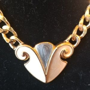 Trifari necklace gold tone chain pink and blue